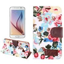 Witte bloemen design stoffen Bookcase hoes Samsung Galaxy S6