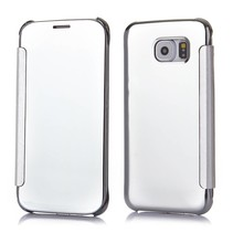 Zilveren view cover Bookcase hoesje Samsung Galaxy S6