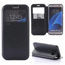 Zwart Venster Bookcase Hoesje Samsung Galaxy S7 Edge