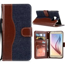 Blauw Jeans Bookcase Hoesje Samsung Galaxy S7 Edge