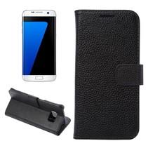 Zwart Litchi Bookcase Hoesje Samsung Galaxy S7 Edge