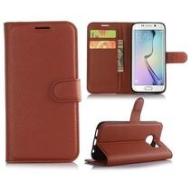 Bruin Litchi Bookcase Hoesje Samsung Galaxy S7 Edge