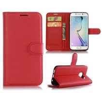 Rood Litchi Bookcase Hoesje Samsung Galaxy S7 Edge