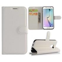 Wit Litchi Bookcase Hoesje Samsung Galaxy S7 Edge