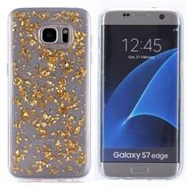 Gouden Glitters TPU Hoesje Samsung Galaxy S7 Edge