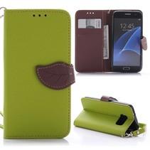 Groen Blad Design Bookcase Hoesje Samsung Galaxy S7