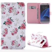 Bloemetjes Bookcase Hoesje Samsung Galaxy S7