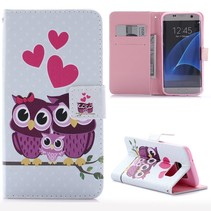 Uil Familie Bookcase Hoesje Samsung Galaxy S7