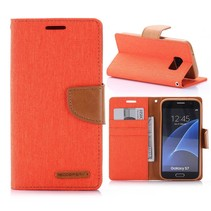 Goospery Oranje Stoffen Bookcase Hoesje Samsung Galaxy S7