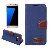 Blauw Jeans Bookcase Hoesje Samsung Galaxy S7