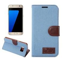 Lichtblauw Jeans Bookcase Hoesje Samsung Galaxy S7