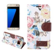 Bloemen Stof Wit Bookcase Hoesje Samsung Galaxy S7