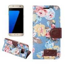Bloemen Stof Blauw Bookcase Hoesje Samsung Galaxy S7