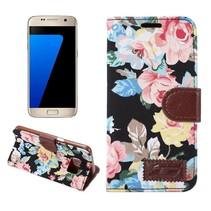 Bloemen Stof Zwart Bookcase Hoesje Samsung Galaxy S7