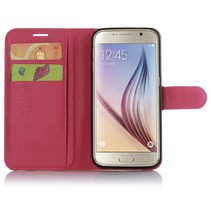 Roze Litchi Bookcase Hoesje Samsung Galaxy S7