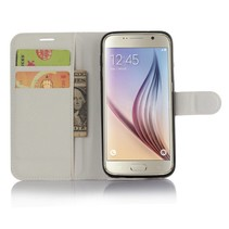 Wit Litchi Bookcase Hoesje Samsung Galaxy S7