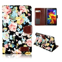 Zwarte bloemenstof flipstand hoes Samsung Galaxy Tab 4 7.0
