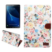 Bloemen Wit Stoffen Flipcover Samsung Galaxy Tab A 10.1 2016