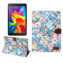 Blauwe bloemenstof flipstand hoes Samsung Galaxy Tab A 9.7