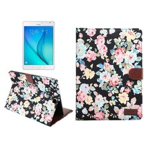 Zwarte bloemenstof flipstand hoes Samsung Galaxy Tab S2 8.0