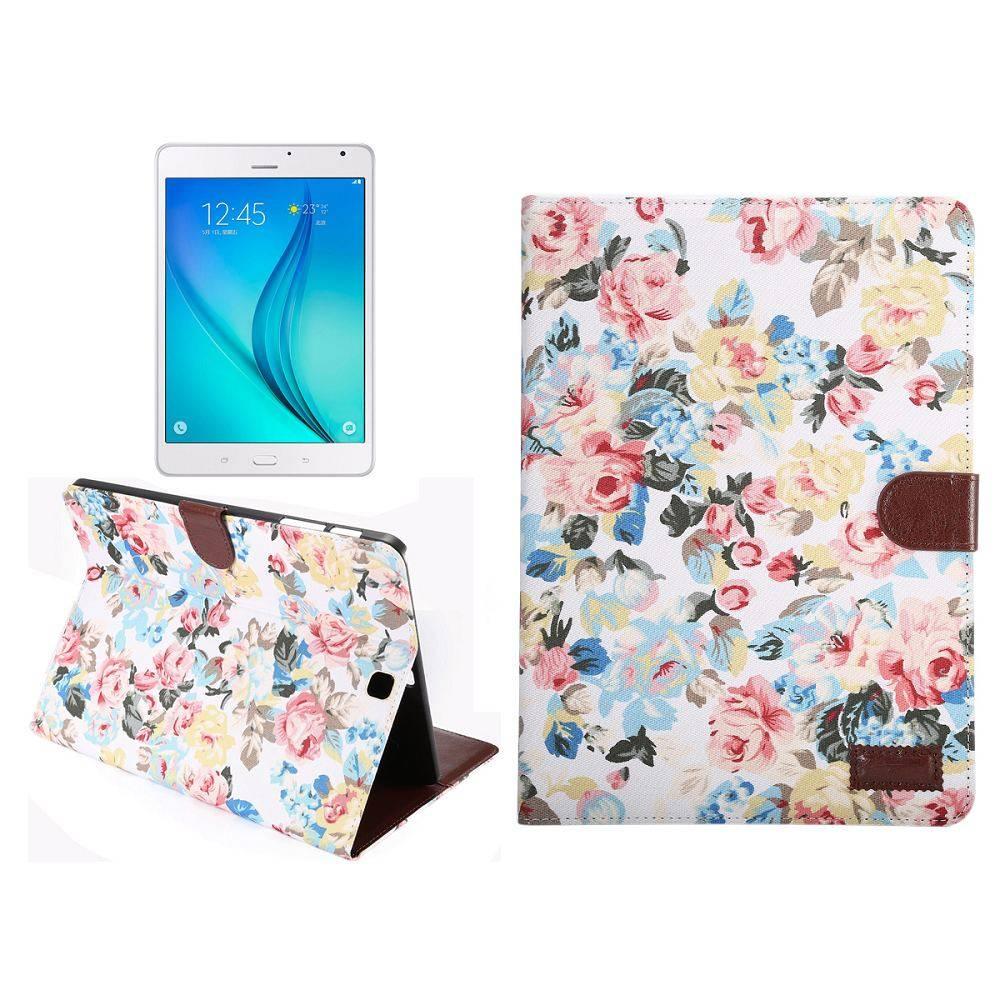 Witte bloemenstof flipstand hoes Samsung Galaxy Tab S2 8.0