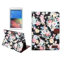 Zwarte bloemenstof flipstand hoes Samsung Galaxy Tab S2 9.7