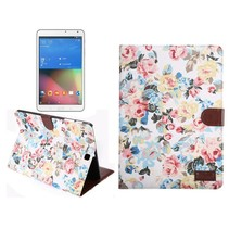 Witte bloemenstof flipstand hoes Samsung Galaxy Tab S2 9.7
