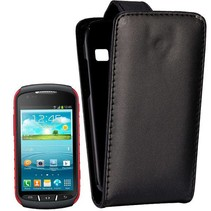 Zwart lederen Flip Case hoesje Samsung Galaxy Xcover 2