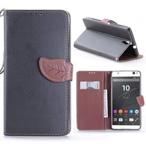 Zwart Blad Design Bookcase Hoesje Sony Xperia C5 Ultra