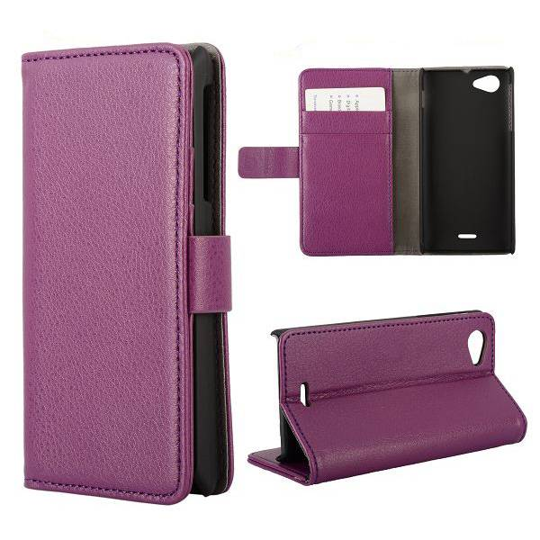 Paars Booktype  hoesje Sony Xperia J