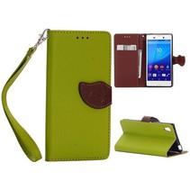 Groene leaf Bookcase hoes Sony Xperia M4 Aqua