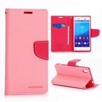 Diary roze Bookcase hoes Sony Xperia M4 Aqua
