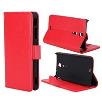 Leder Bookcase hoesje rood Sony Xperia GX / TX