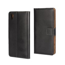 Zwart Leder Bookcase Hoesje Sony Xperia X