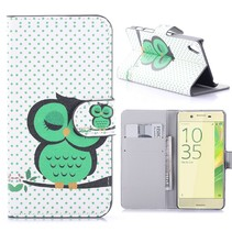 Slapende Uil Bookcase Hoesje Sony Xperia X