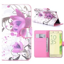 Paarse Bloem Bookcase Hoesje Sony Xperia X