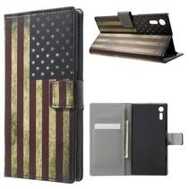 Amerikaanse Vlag Bookcase Hoesje Sony Xperia XZ