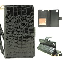 Zwart Krokodillen Bookcase Hoesje Sony Xperia Z5 Compact