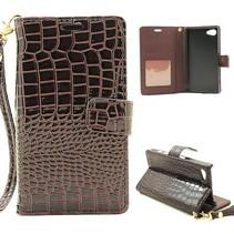 Bruin Krokodillen Bookcase Hoesje Sony Xperia Z5 Compact