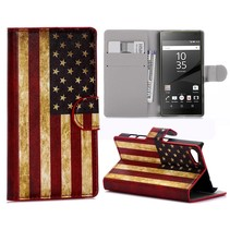 Amerikaanse Vlag Bookcase Hoesje Sony Xperia Z5 Compact