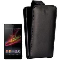 Zwart lederen Flip Case hoesje Sony Xperia ZR