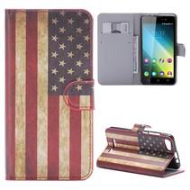 Amerikaanse Vlag Bookcase Hoesje Wiko Lenny 2