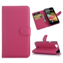 Roze lychee Bookcase hoes Wiko Rainbow