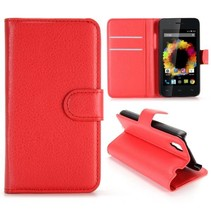 Rood Litchi Bookcase Hoesje Wiko Sunset