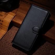 Zwarte lychee Bookcase hoes Wiko Wax