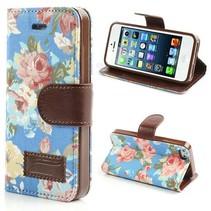 Bloemenpatroon Booktype  hoesje iPhone 5 / 5s / SE - blauw