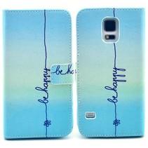 Be Happy blauw Bookcase hoesje Galaxy S5 / Plus / Neo