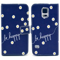 Be Happy Blauwe Bookcase hoesje Galaxy S5 / Plus / Neo