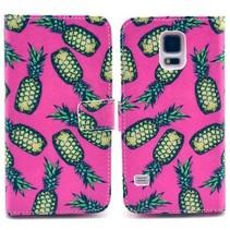 Ananas roze Booktype  hoesje Galaxy S5 / Plus / Neo