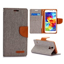 Canvas grijs Bookcase hoes Galaxy S5 / Plus / Neo